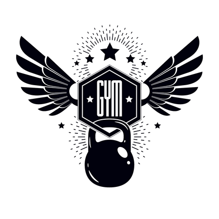 Fitness and heavyweight gym sport club logotype template, vintage style winged vector emblem. With kettlebell. Illustration