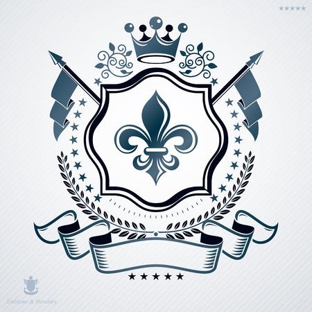 Emblème de vecteur vintage en design héraldique avec couronne royale Vecteurs