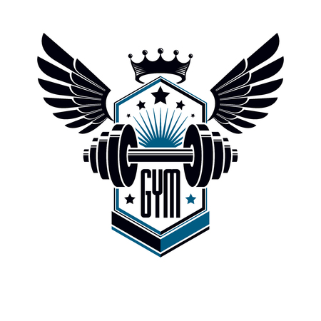 Sport logo for weightlifting gym and fitness club, vintage style vector emblem with wings. With barbell.