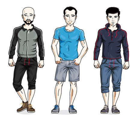 Handsome young men posing in stylish sportswear. Vector people illustrations set. Lifestyle theme male characters. Illustration