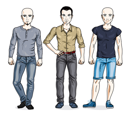 dude: Happy men standing in stylish casual clothes. Vector set of beautiful people illustrations.