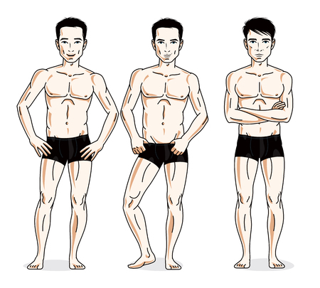 Handsome men standing in black underwear. Vector set of beautiful people illustrations. Illustration