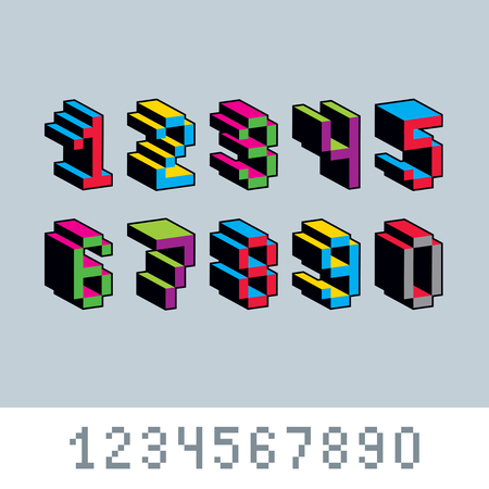8bit: Cybernetic 3d numbers, pixel art vector numeration. Pixel design elements, contemporary dotted digits made in technology style.