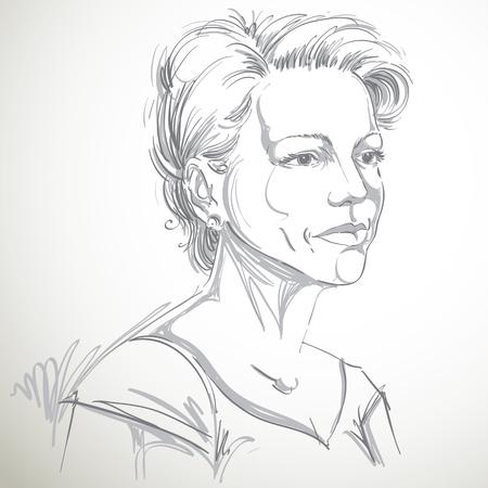 Vectorportret van aantrekkelijke vrouw, illustratie van knap ernstig wijfje. Persoonlijk emotionele gezichtsuitdrukking.