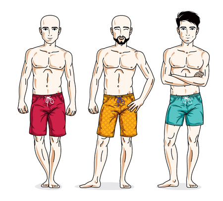 Handsome men group standing with perfect body, wearing beach shorts. Vector different people characters set.