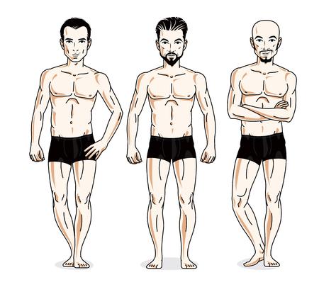 skivvy: Handsome men standing in black underwear. Vector set of beautiful people illustrations. Illustration