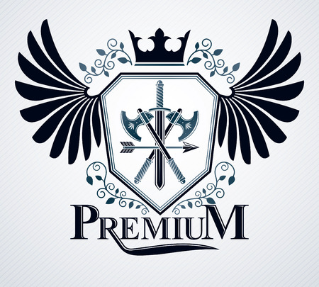 Vector emblem, vintage heraldic design. Illustration