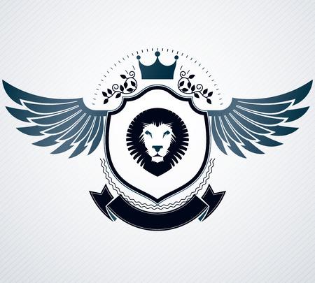 winged lion: Emblema de vector, diseño heráldico de la vendimia.