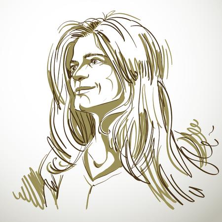 Artistic hand-drawn image, black and white portrait of delicate stylish loving girl. Emotions theme illustration.
