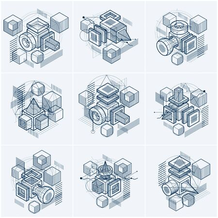 3d abstract vector isometric backgrounds. Layouts of cubes, hexagons, squares, rectangles and different abstract elements. Vector collection. Ilustrace