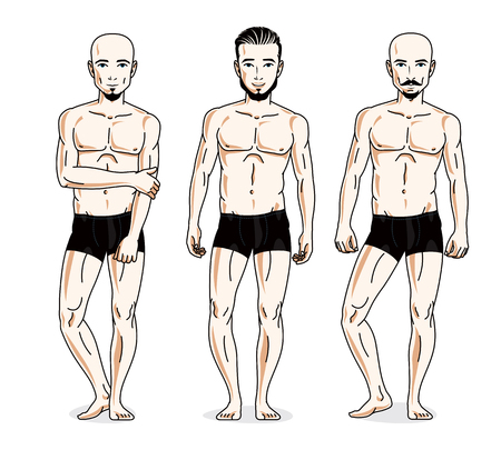 Handsome men posing in black underwear. Vector people illustrations set. Illustration