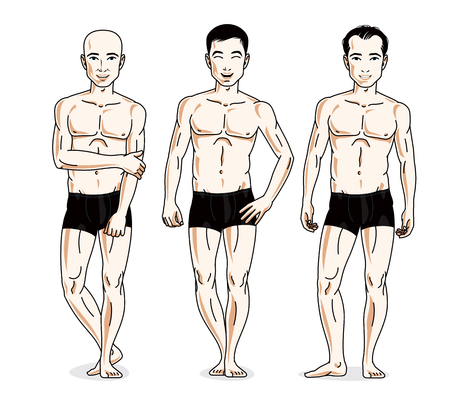skivvy: Handsome men posing in black underwear. Vector people illustrations set. Athletic man with perfect body.