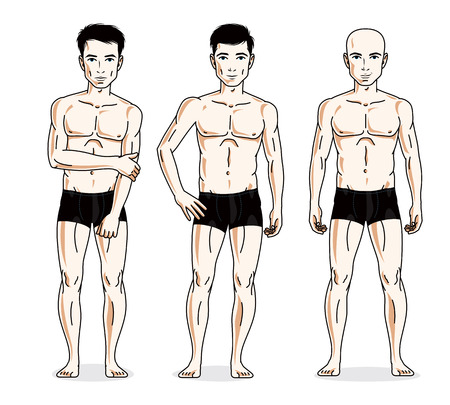skivvy: Handsome men posing in black underwear. Vector people illustrations set. Illustration