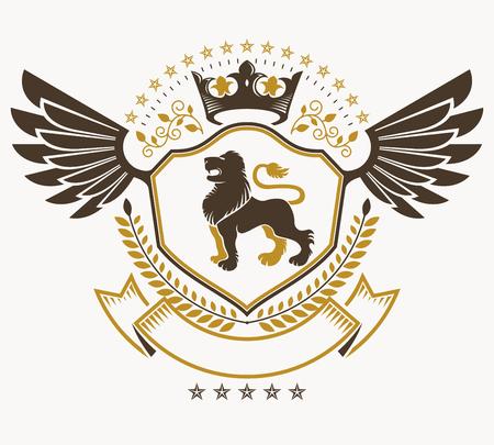 winged lion: signos heráldicos Elementos del vector de la vendimia. Vectores