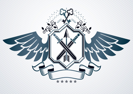 Vector illustration of old style heraldic emblem made with armory and eagle wings