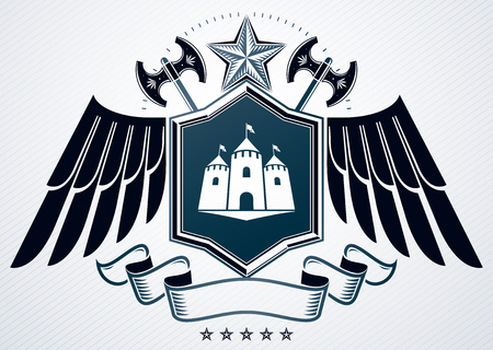 Vector illustration of old style heraldic emblem made with pentagonal star, medieval castle and eagle wings Illustration