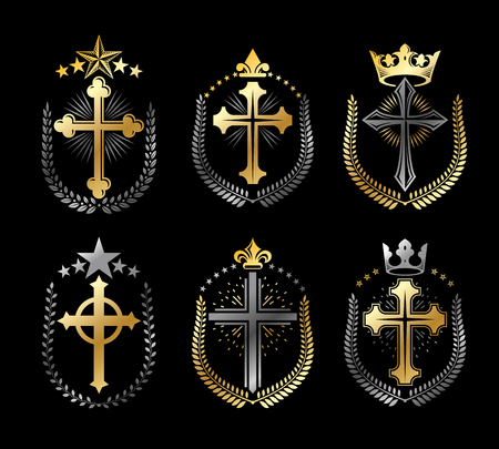 crosses: Christian Crosses emblems set. Heraldic vector design elements collection. Retro style label, heraldry logo.