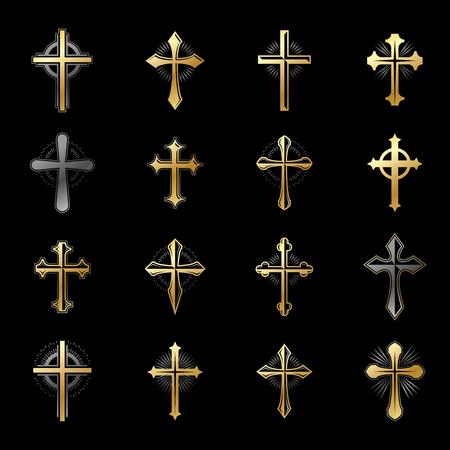 キリスト教宗教エンブレムの十字架を設定します。紋章紋章付き外衣の装飾的なロゴは、ベクトル イラスト コレクションを分離しました。
