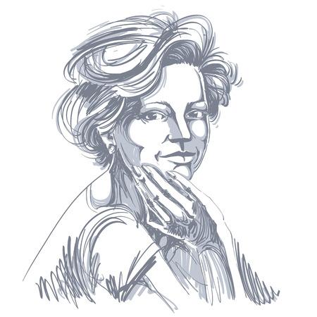 Vectortekening van zekere elegante vrouw met modieus kapsel. Zwart en wit portret van aantrekkelijke vreedzame dame. Stock Illustratie