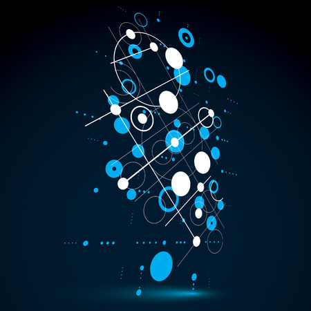 Modular Bauhaus 3d vector blue background, created from simple geometric figures like circles and lines. Best for use as advertising poster or banner design.