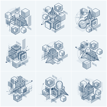 modular rhythm: Abstract vector backgrounds with isometric lines and shapes. Cubes, hexagons, squares, rectangles and different abstract elements. Vector collection.