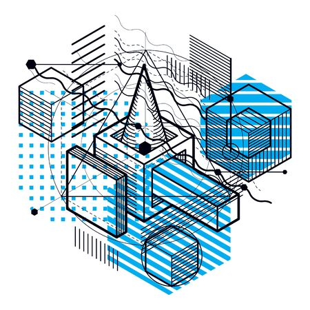 Lines and shapes abstract vector isometric 3d background. Layout of cubes, hexagons, squares, rectangles and different abstract elements.