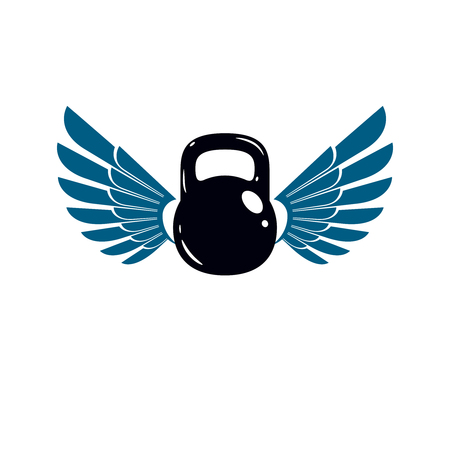 Bodybuilding weightlifting gym logotype sport template, retro style vector emblem with wings. With kettlebell. Illustration