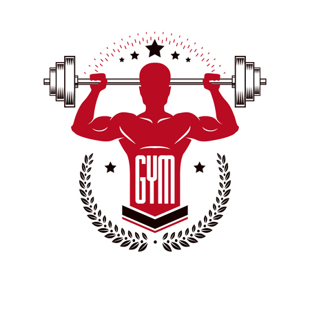 Sport logo for weightlifting gym and fitness club, retro style vector emblem. With sportsman silhouette.