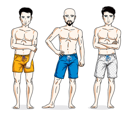 Happy men standing with athletic body, wearing beach shorts. Vector different people characters set. Lifestyle theme male characters.