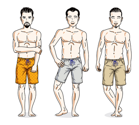 Happy men standing in colorful beach shorts. Vector different people characters set. Lifestyle theme male characters.