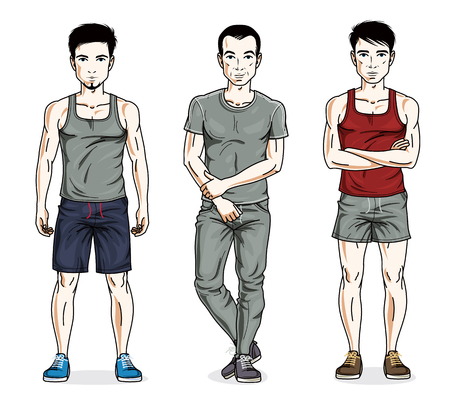 Handsome young men posing in stylish sportswear, sportsman and fitness people. Vector people illustrations set. Lifestyle theme male characters. Illustration