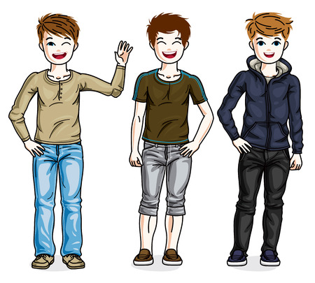Young teen boys cute children group standing wearing fashionable casual clothes. Vector set of beautiful kids illustrations. Childhood and family lifestyle cartoons.