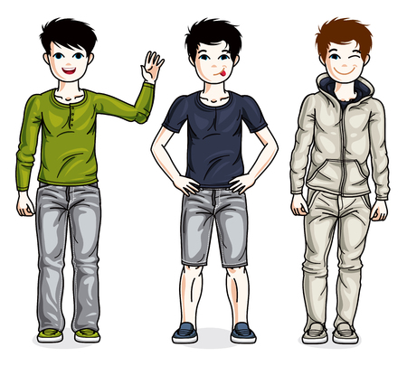 Beautiful little boys cute children standing wearing different casual clothes. Vector kids illustrations set. Childhood and family lifestyle cartoons. Illustration