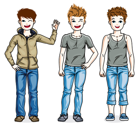 school age: Beautiful little boys cute children standing wearing different casual clothes. Vector kids illustrations set.