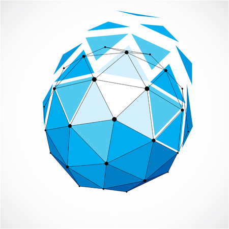 Perspective technology shape with black lines and dots connected, polygonal wireframe object. Abstract faceted element isolated on white for use as design structure on communication technology theme Vector Illustration