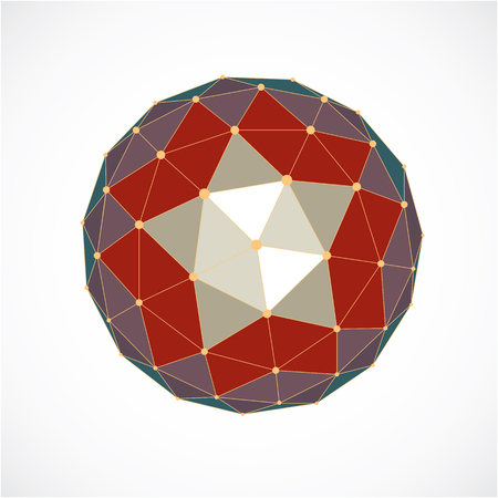 Perspective technology shape with lines and dots connected, polygonal wireframe object. Abstract colorful faceted element for use as design structure on communication technology theme Illustration