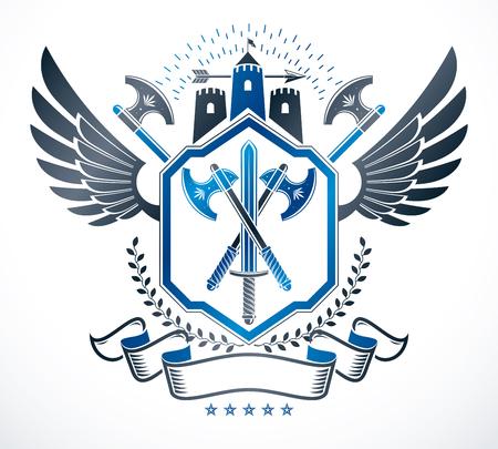citadel: Luxury heraldic vector emblem template. Vector blazon.