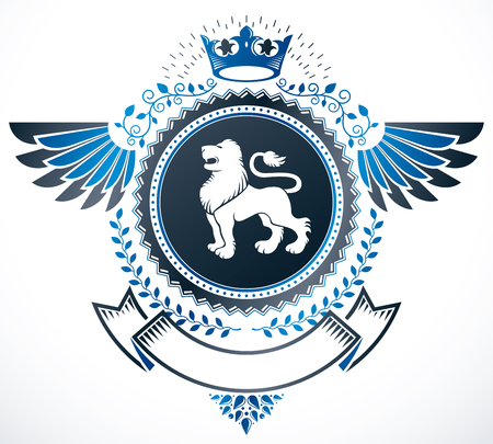 lion wings: Heraldic Coat of Arms decorative emblem isolated vector illustration.