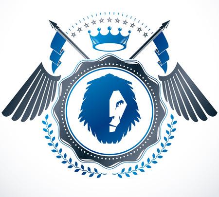 winged lion: Premio de diseño de la vendimia, Escudo heráldico de la vendimia de armas. Emblema del vector.