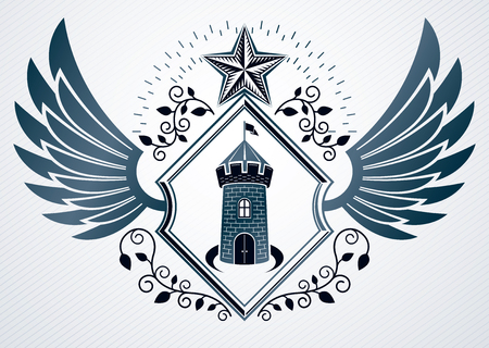 bastion: Vintage decorative heraldic vector emblem composed with eagle wings, medieval fortress and pentagonal stars Illustration
