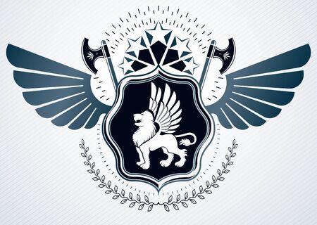 winged lion: Vintage heraldry design template, vector emblem created using hatchets, wild lion illustration and pentagonal stars.