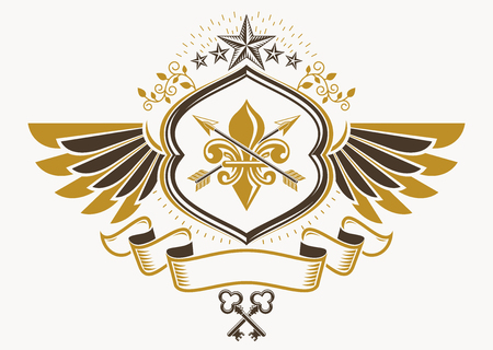 Heraldic sign made using vector vintage elements, eagle wings and pentagonal stars