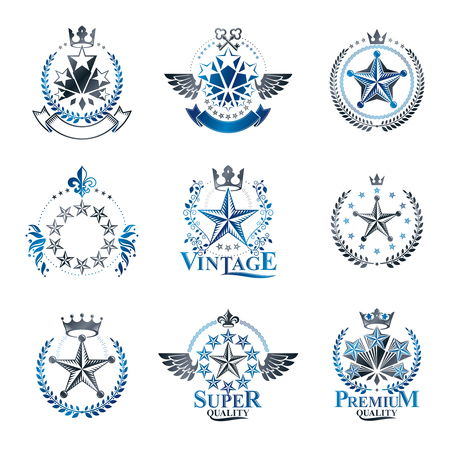 rating: Pentagonal Stars emblems set. Heraldic Coat of Arms, vintage vector logos collection.