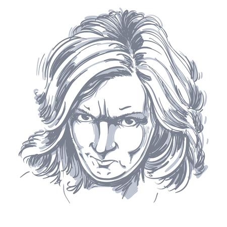 arrogant: Vector portrait of angry woman with wrinkles on her forehead, illustration of good-looking but irate female. Person emotional face expression. Illustration