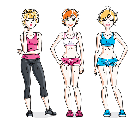 nice girls: Happy young women posing wearing stylish sport clothes, sportswoman and fitness people. Vector set of beautiful people illustrations. Lifestyle theme fem characters. Illustration
