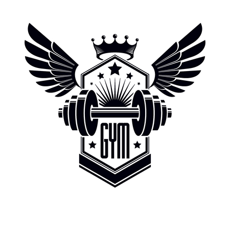 Logotype for heavyweight gym or fitness sport gymnasium, winged retro stylized vector emblem or badge With barbell.