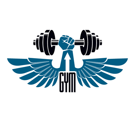 Gym weightlifting and fitness sport club logo, retro style vector emblem with wings. With barbell and strong hand fist. Illustration