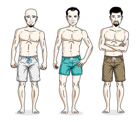 Hombres felices posando con cuerpo atlético, con pantalones cortos de playa. Vector conjunto de ilustraciones diversas personas. Estilo de vida personajes masculinos.