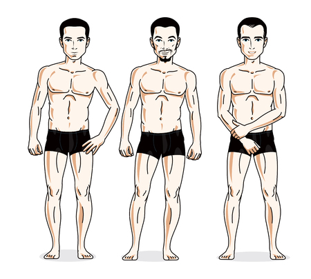skivvy: Handsome men group standing in black underwear. Vector characters set. Athletic man with perfect body. Illustration