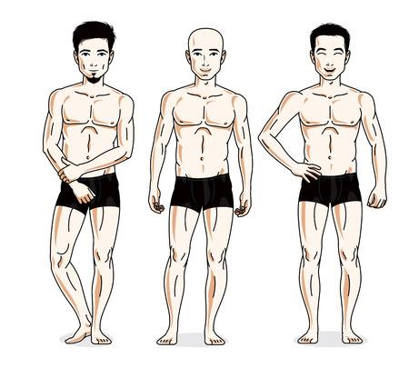 skivvy: Handsome men group standing in black underwear. Vector characters set.